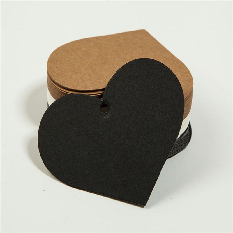 100pcs Heart Kraft Paper Tags Christmas Card White Black DIY Craft Paper Gift Tags Blank Luggage Label 6.5*5cm