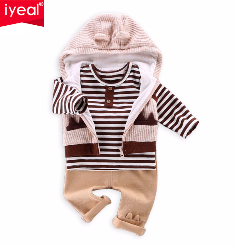 IYEAL Baby Boy Clothes Newborn Toddler Boys Clothing 3Pieces/Set Cotton Kids Infant Suit Vest + T-shirt + Pants Children Outfits baby boy clothes monkey cotton t shirt plaid outwear casual pants newborn boy clothes baby clothing set