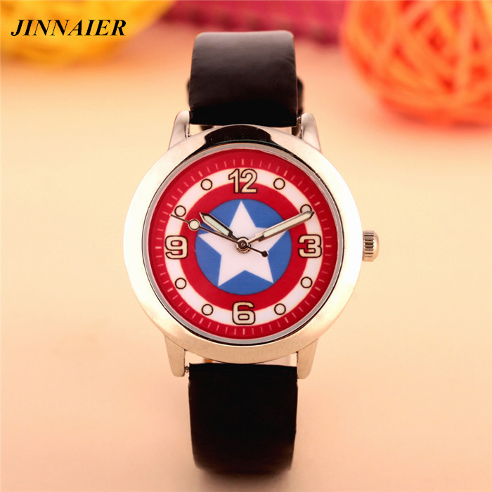 100pcs/lot wholesales hot sales fashion 3D cartoon Captain America students boys children gifts watch quartz leather wristwatch купить
