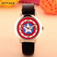 100pcs/lot wholesales hot sales fashion 3D cartoon Captain America students boys children gifts watch quartz leather wristwatch