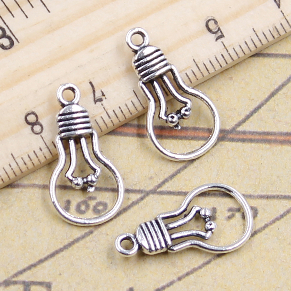 20pcs Charms light bulb 21x11mm Antique Silver Plated Pendants Making DIY Handmade Jewelry Factory Wholesale