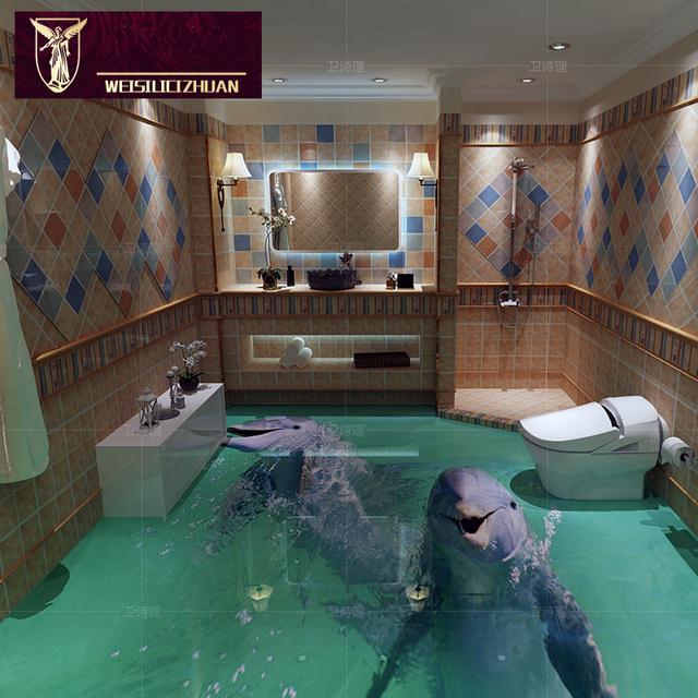 Export Cute Dolphin 3D Floor Tiles 3D Ceramic Tile Bathroom Kitchen Non Slip  Wear