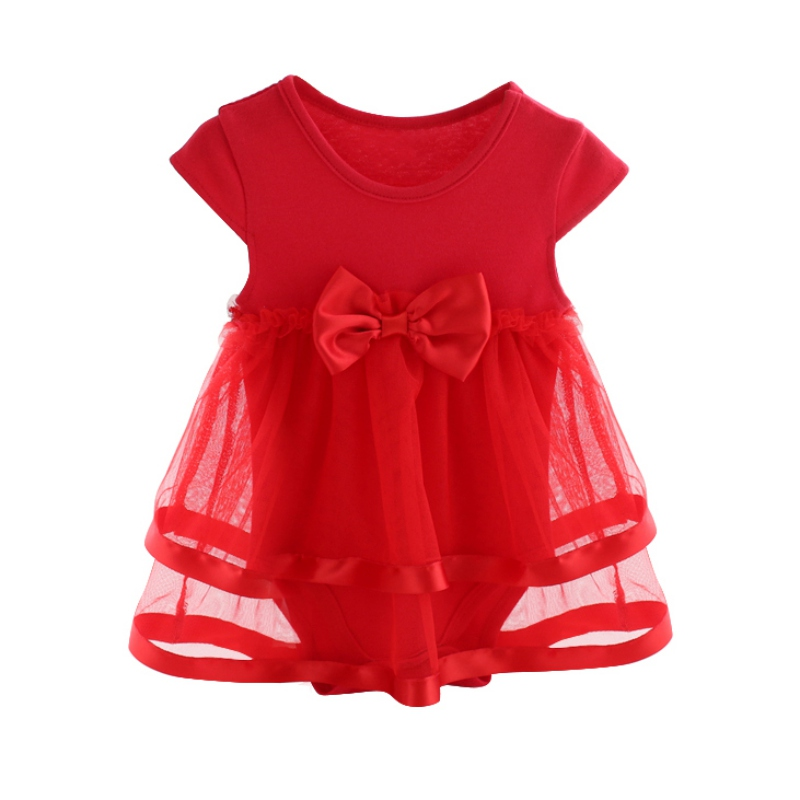 Newborn Baby Summer Mesh Bow Baby For Girl Kids Infant Solid Color Clothes Baby Girls Jumpsuit Rompers