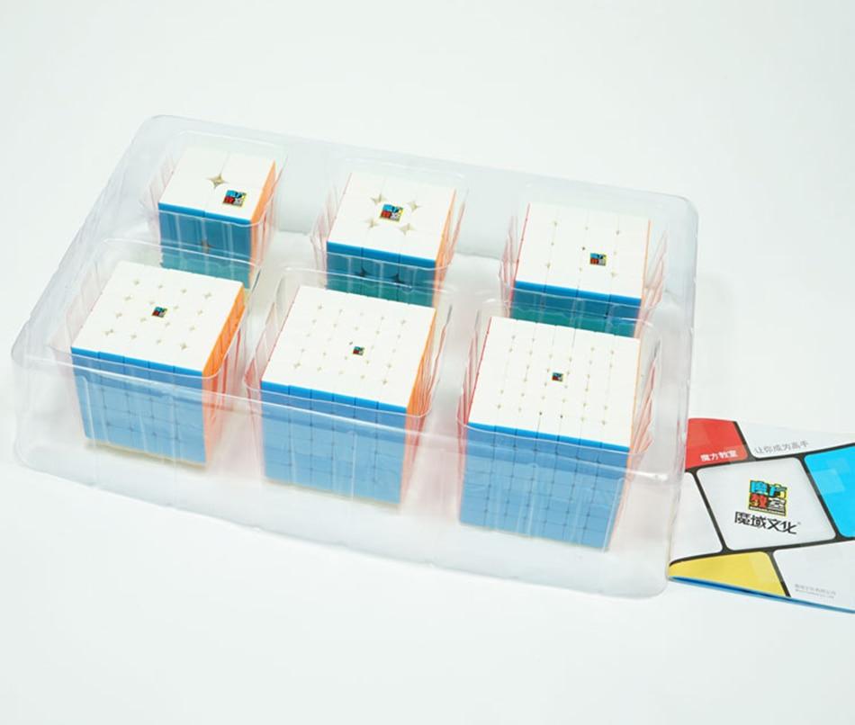 MoYu Speed Cube Bundle Moyu Mofang Jiaoshi MF2S MF3S MF4S MF5S MF6 MF7S ensemble de Cube magique sans colle 6 en 1 avec boîte-cadeau