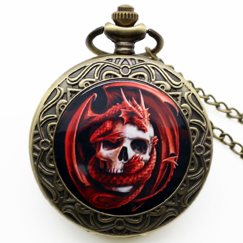 New Fashion Punk Style Charm Pendant Watch Bronze Red Skull Dragon Pocket Watch Gothic Quartz  Watches Gift P1415 old antique bronze doctor who theme quartz pendant pocket watch with chain necklace free shipping