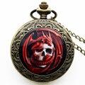 Novo Estilo Moda Punk Charme Relógio Pingente de Bronze Relógio de Bolso Dragão Gótico Do Crânio Relógios de Quartzo Presente Vermelho P1415