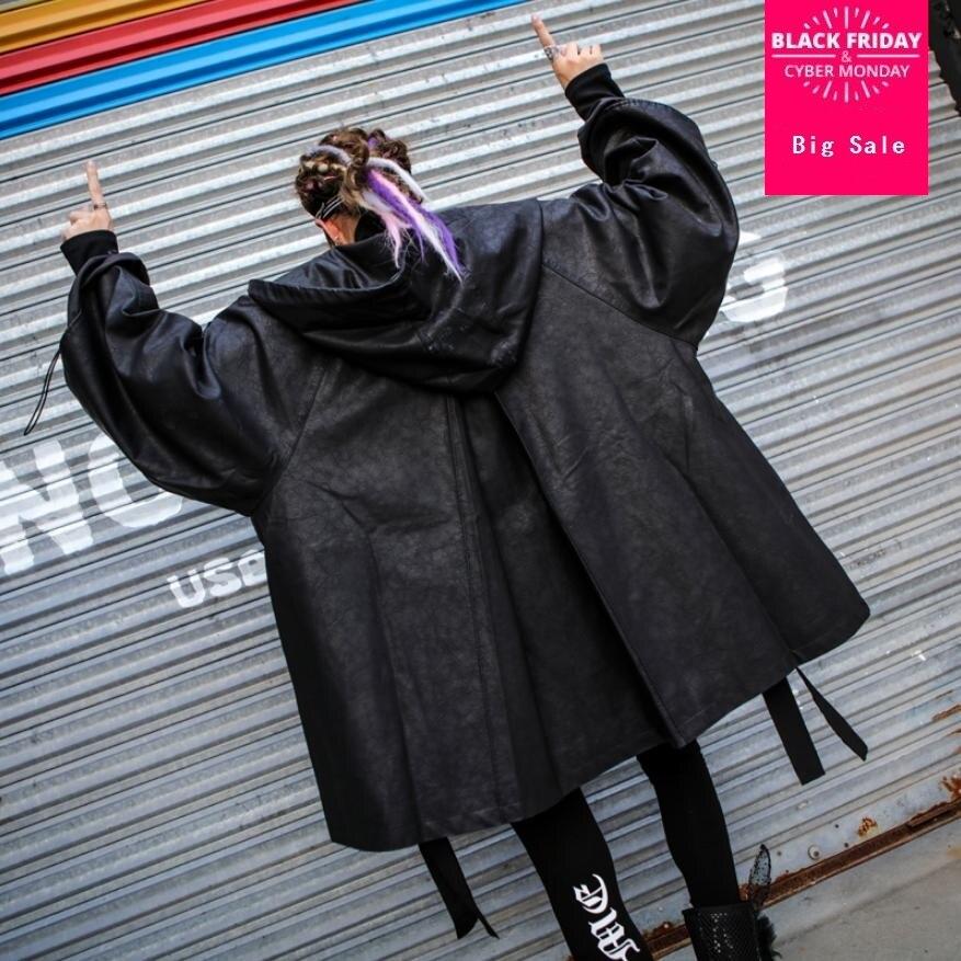 2018 autumn winter fashion women's PU   leather   Windbreaker jacket bf wind loose was thin coat oversize hooded outwear L1321 ups