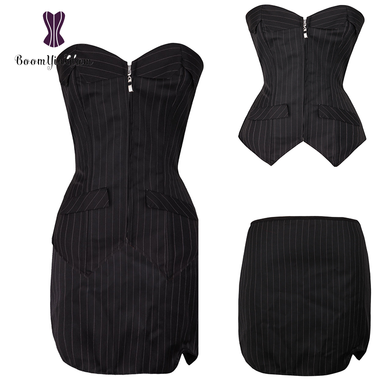 Wholesale 3Pcs Clothes Set Pinstriple Corselet Plus Size   Bustiers   Front zipper Striped Office   Corset   With A-line Skirt 801#