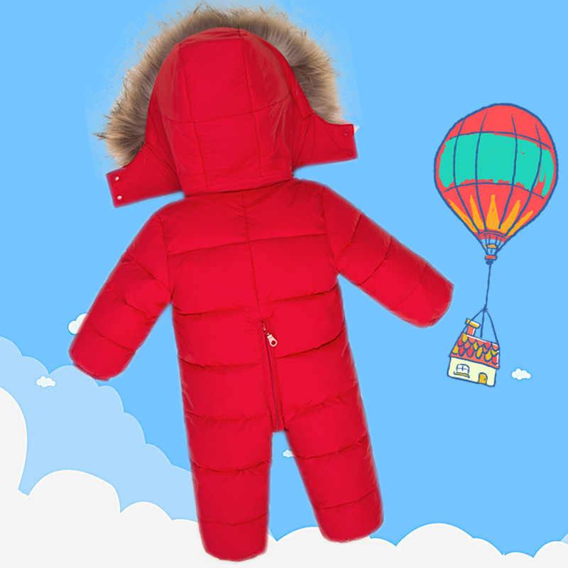 Пальто для новорожденных зимний комбинезон из натурального меха с капюшоном для маленьких мальчиков и девочек, зимняя одежда для снежной погоды 90% белые куртки на утином пуху верхняя одежда, Комбинезоны
