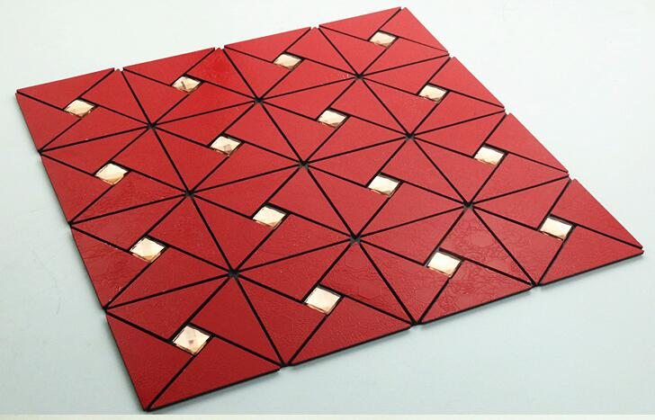 Red Aluminium Plastic Mirror Glass Mosaic Tiles Hiqh Quality Metal Mosaic Tiles Kitchen