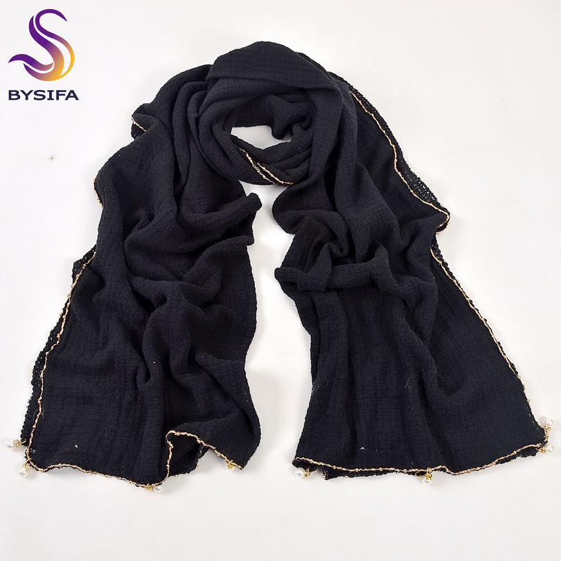 bysifa Autumn Winter Women Black Long Scarves 2018 New Brand Pearl Pendant Cotton Blends Scarf Shawl Green,grey,red,navy Blue Fashionable Patterns Collection Here