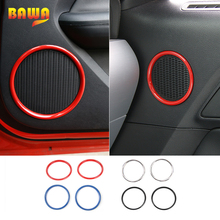 HANGUP Car Door Speaker Ring Large Small Size Decoration Cover Interior Stickers ABS For Ford Mustang 2015 Up Car Styling hangup aluminum car door audio speaker net decoration cover trim stickers for chevrolet camaro 2017 up car styling