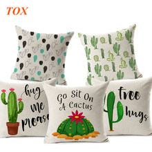 TOX Cartoon Beige Cactus Cushion Cover Cotton Linen Succulent Plants Green Letters Home Sofa Decorative Geometric Pillow Cover(China)