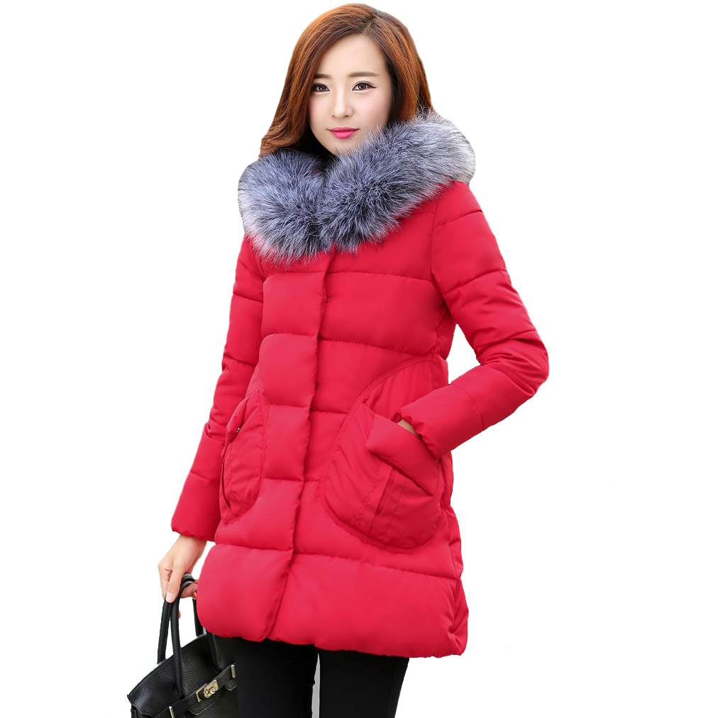 ФОТО Tengo Spring Winter Women Warm Cotton Female Long Loose Thin Coat Thick Cotton Padded