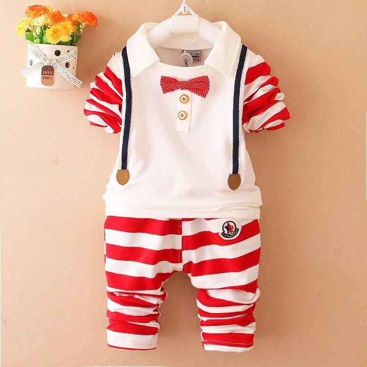 2019 חדש תינוק ילד בגדי חליפת באיכות ילדים ארוך שרוול bowknot חולצה + מכנסיים גוף חליפות אדון צעיר ילדים בגדים סטים