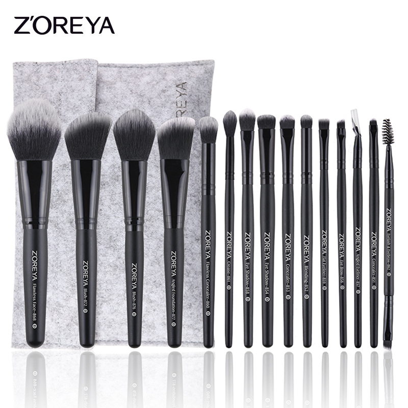 ZOREYA 15pcs Professional Makeup Brushes Set Natural Soft Bristles Foundation Blush Eyeshadow Cosmetic Brush Make Up Tools zoreya 9pcs professional portable makeup brushes sets kolinsky hair foundation powder blush make up brush cosmetic tools pinceis