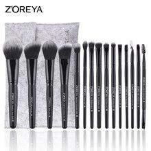 ZOREYA 15pcs Professional Makeup Brushes Set Natural Soft Bristles Foundation Blush Eyeshadow Cosmetic Brush Make Up Tools