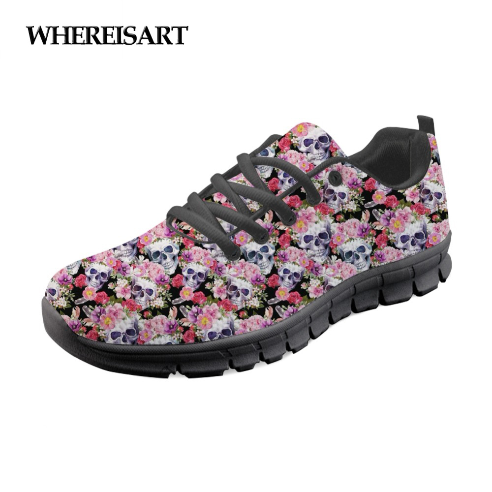 WHEREISART Radiologists Skull Stylish Shoes Woman Brand Designer Casual Women Sneakers Flats Walking Comfortable Ladies