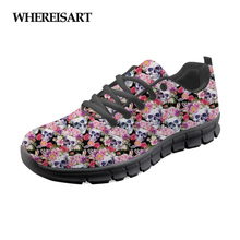 WHEREISART Radiologists Skull Stylish Shoes Woman Brand Designer Casual Women Sneakers Flats Walking Comfortable Ladies