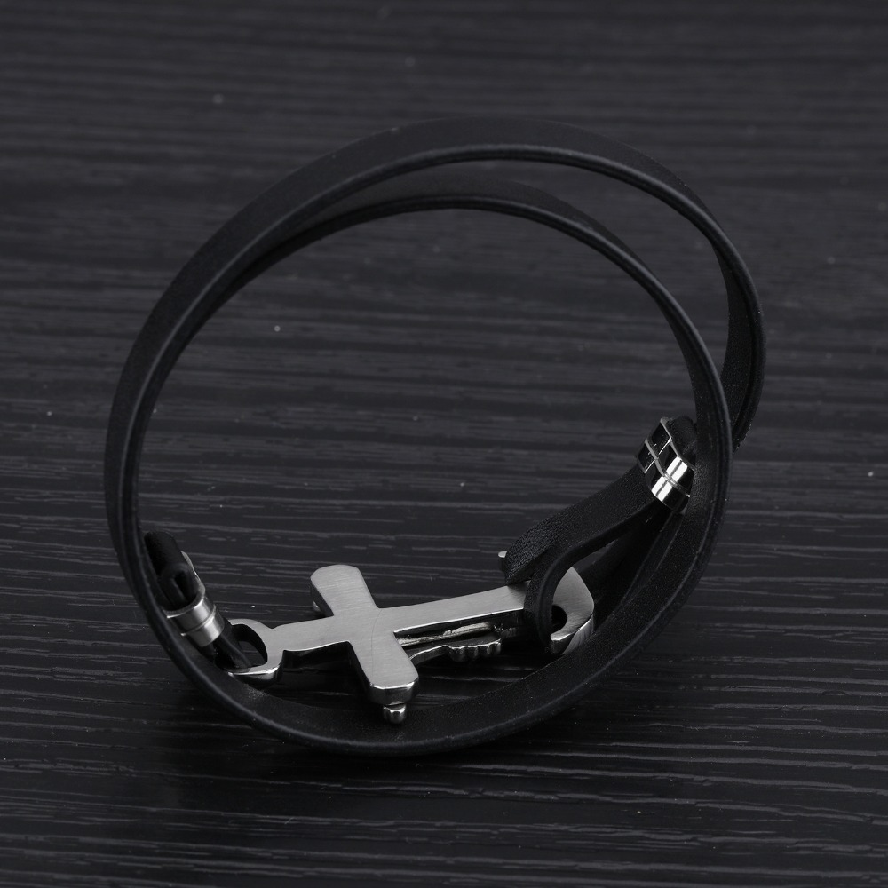 SIZZZ 20cm Long 8mm Wide Europe and the United States punk personality double leather bracelets for men