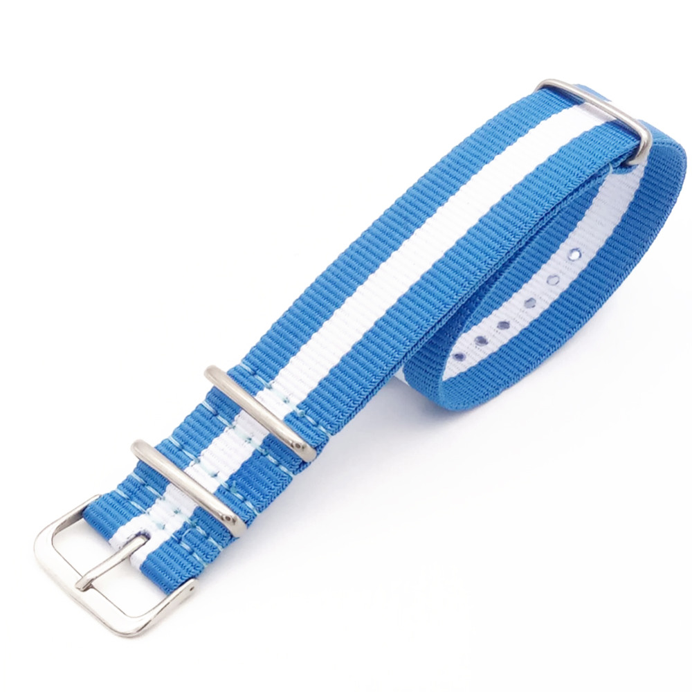 18 20 22 24mm Blue/White Striped For G10 Band Nato Strap for Army Sport Wristwatch Fabric Nylon Watchband