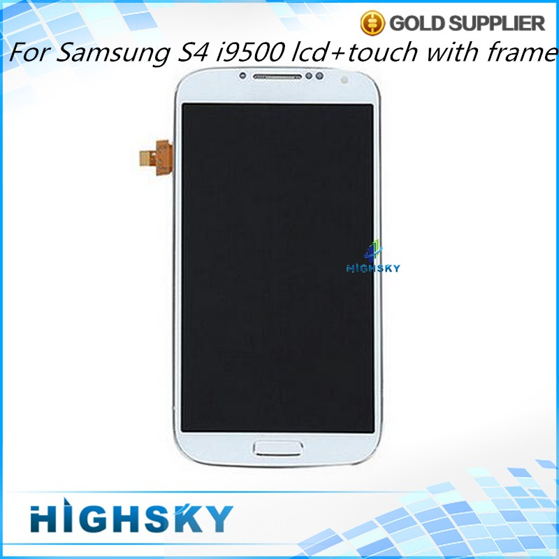 10 Pieces/lot Display For Samsung Galaxy S4 LCD i9500 Screen With Touch+Frame AAA Quality Test New 5 inch Free DHL EMS Shipping