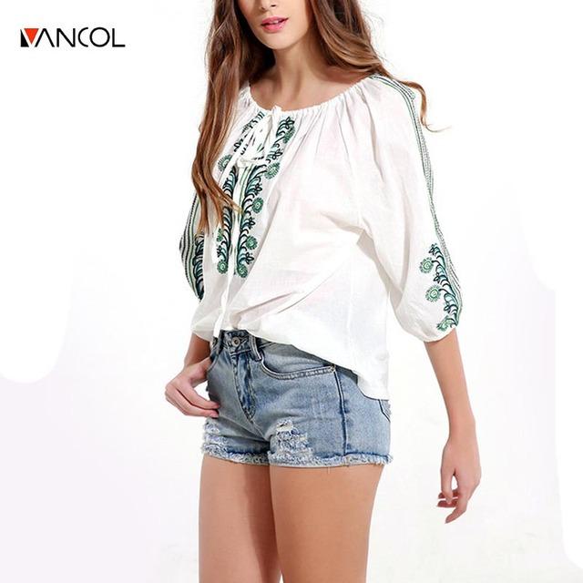 Vancol novo 2017 o pescoço verão camiseta feminina estilo boho flor bordado lace up mulheres camisas primavera branco mulheres pullover