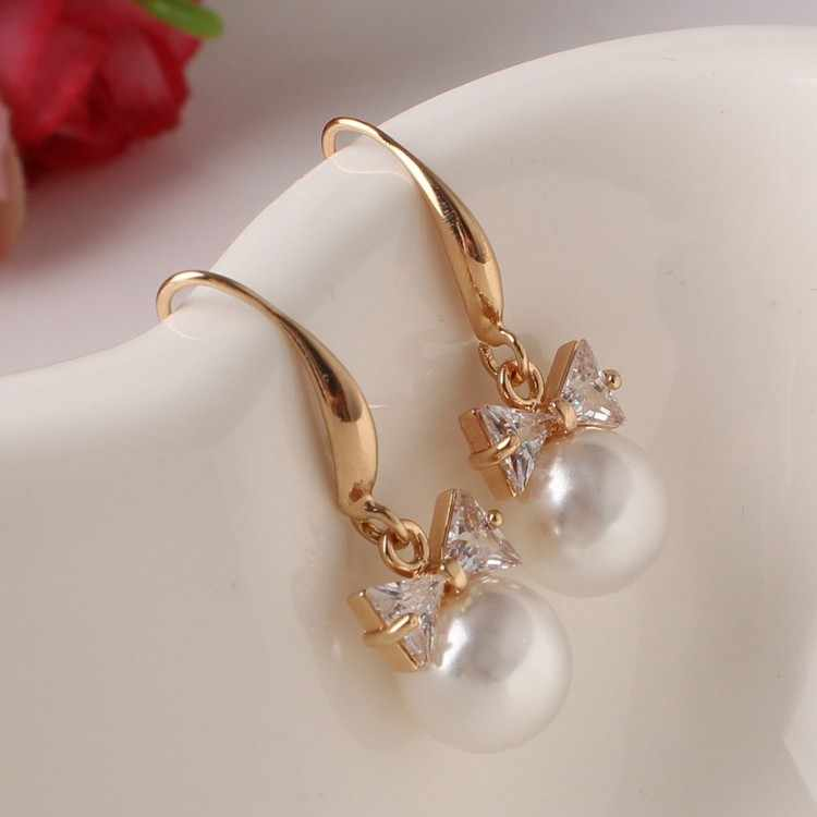 2017 high-end fashion jewelry ear Fangzuan large pearl bow earrings wholesale zircon manufacturers Gold Earing