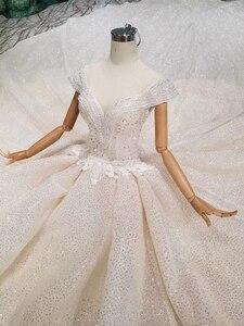 Image 3 - Ls11293 vestido de casamento especial cristal boné manga ilusão o pescoço feito à mão vestido de casamento ver através aberto voltar vistido