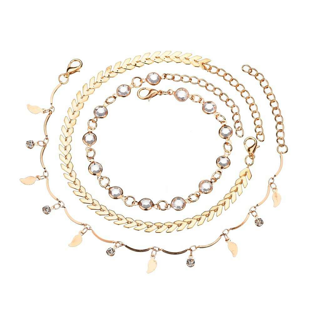 LOLEDE 3pcs/set Anklets for Women Foot Accessories Summer Beach Barefoot Sandals Bracelet ankle on the leg Female Ankle