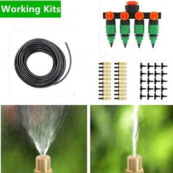 50m pirinç ayarlanabilir Misting yağmurlama seti Splitter mikro damla sulama tesisi kendini sulama bahçe su kitleri AA01