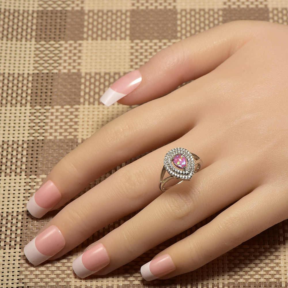 Weinuoสีชมพูโอปอลไฟสีขาวคริสตัลแหวนเงินแท้925 Top Qualityแฟนซีเครื่องประดับแหวนแต่งงานขนาด5 6 7 8 9 10 A332