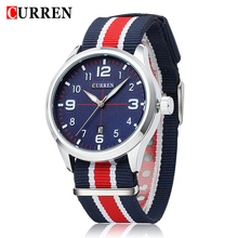 2017 Selling Brand Curren 8195 Men's Round Dial Analog Wrist Watch with Canvas Band & Calendar