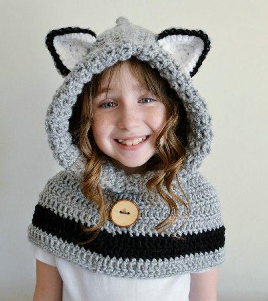 Hooded Bear Cowl Animal Hat Hooded Scarf Crochet Hoodie Shawl