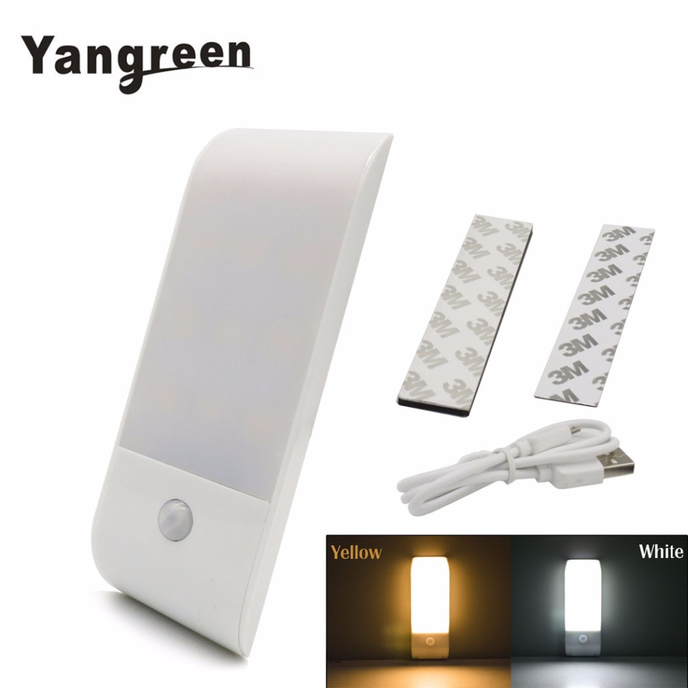 12 LED Rechargeable Motion Sensor NightLight Activated Auto On/Off Closet Light USB Charge Hallway Wall Lamp With Magnetic Strip