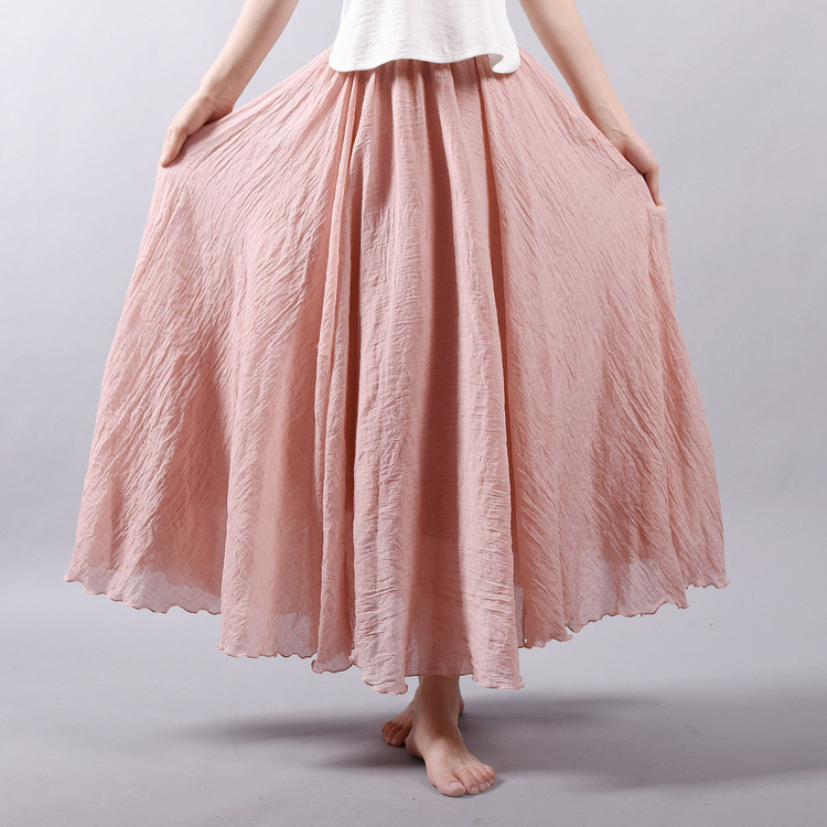 Sherhure 19 Women Linen Cotton Long Skirts Elastic Waist Pleated Maxi Skirts Beach Boho Vintage Summer Skirts Faldas Saia 7