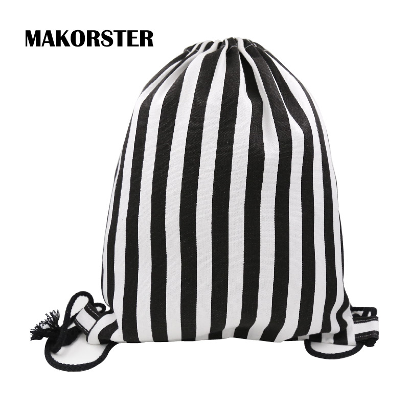 MAKORSTER Famous Brand summer Japan and Korean Style waterproof backpack beach drawstring bag Striped Women Cotton Fabric MK007 sa212 saddle bag motorcycle side bag helmet bag free shippingkorea japan e ems