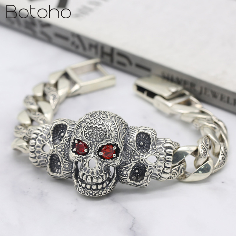 Men Bracelet Real 925 Sterling Silver Jewelry Men Women Inlaid Natural Stone Punk Rock Skull Charm Chain Bracelet Bangle Gifts-in Chain & Link Bracelets from Jewelry & Accessories    1