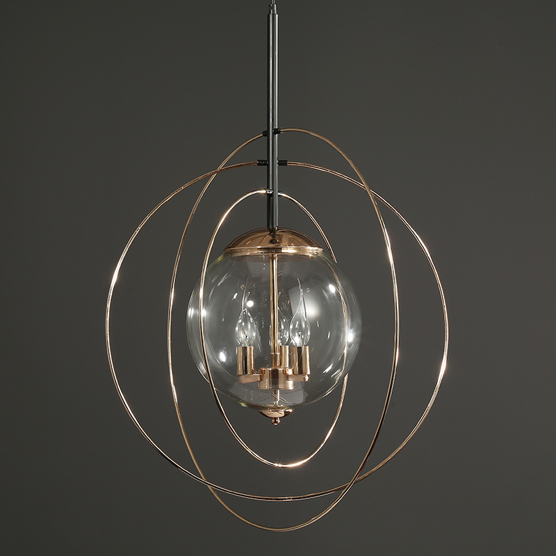 New style gold glass ball chandelier hotel/kitchen/stair drop light E14 universe hanging lighting round led indoor home lamp