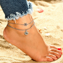 Vintage Hollow Flower Alloy Anklets Bracelets Chic Double Layer Ancient Silver Wedding Gift For Female