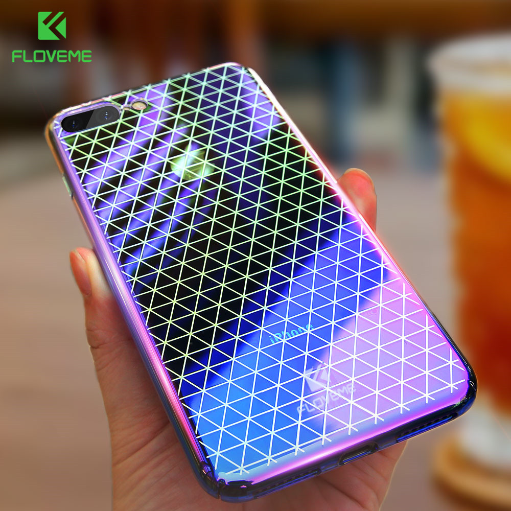 FLOVEME Plating Gradient Case For iPhone 8 7 Plus Full Protection Hard Plastic Phone Cover For iPhone 6S 6 Plus Case Capa Fundas