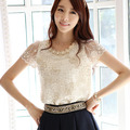 Fashion Summer Women blouse 2017 Casual Lace Shirt Embroidered lace Beaded Chiffon shirt Short sleeved lace Tops
