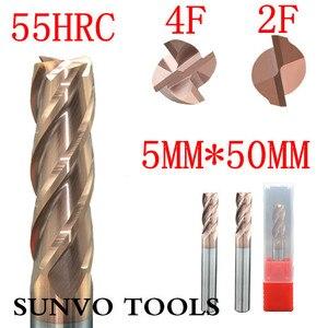 Image 3 - 5PCS 2F 3F 4 flutes D5x50MM 5MM  CNC Tool Tungsten Carbide End Mill HRC45 HRC50 HRC55 HRC60 HRC65 Aluminum milling cutter