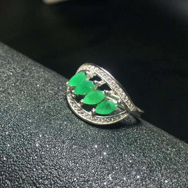 Chrame design natural Emerald ring 4 pcs 3*6 mm natural emerald 925 silver ring fashion Emerald silver jewelry