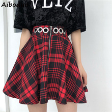Summer Vintage Red and Black Plaid Skirt Mini Short A-line Pleated Female Women's High Waist Skirt Metal Ring Zipper Goth Skirts недорого