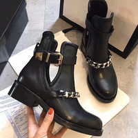Mental Chain Martin Boots Woman Round Toe Fashion Cuts Out Black Real Leather Short Boots Buckle Strap Ankle Boots Woman Shoes