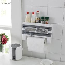 Mulifunction Kitchen Cling Film Sauce Bottle Storage Rack Wall Roll Paper Towel Hanging Holder Rack Paper Aluminium Foil Hook