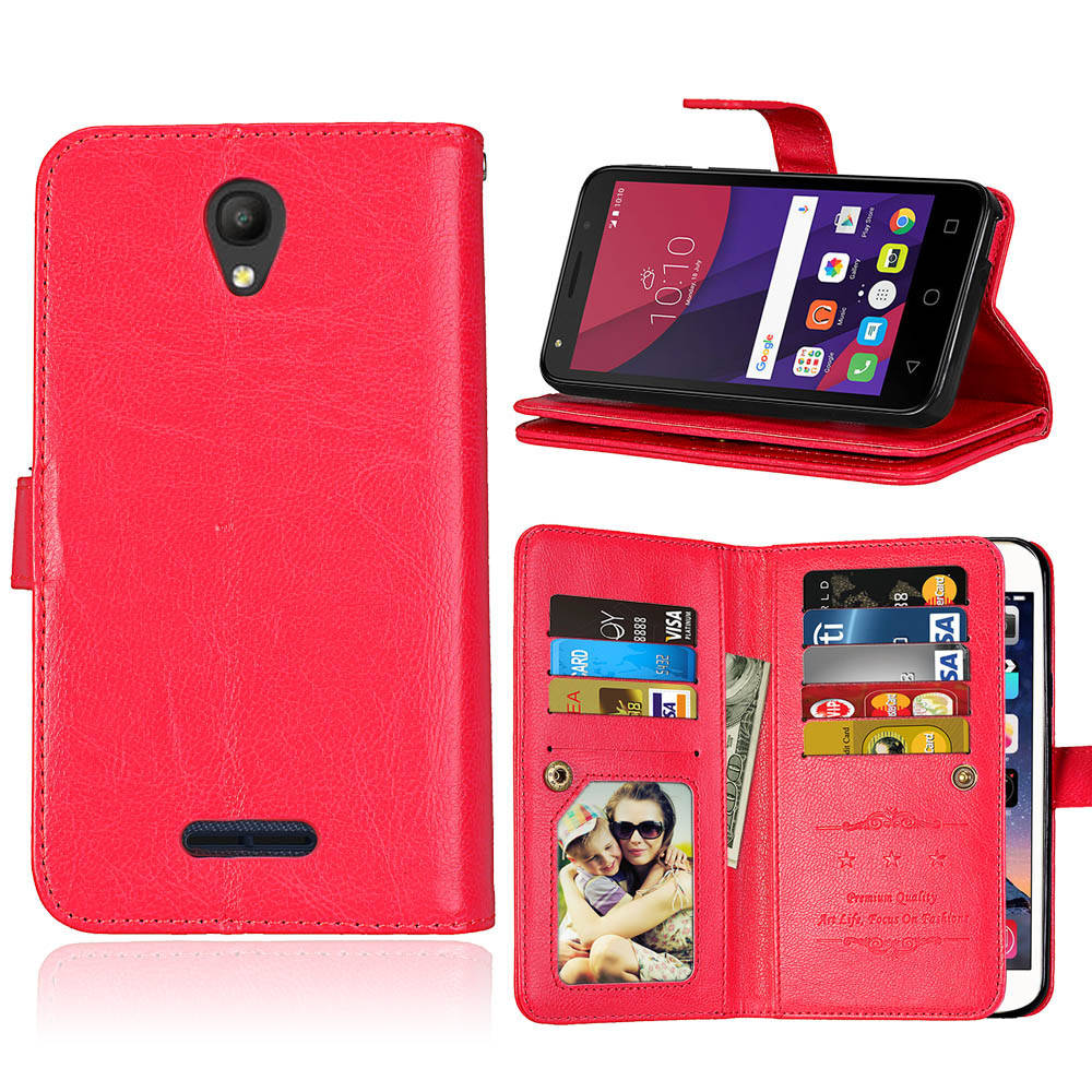 Coque Fundas 9 Card <font><b>Case</b></font> <font><b>For</b></font> <font><b>Alcatel</b></font> OneTouch <font><b>POP</b></font> <font><b>4</b></font> 5.0 <font><b>5051D</b></font> Cover Leather Flip Stand Multi-function Wallet Photo Frame <font><b>Case</b></font> image