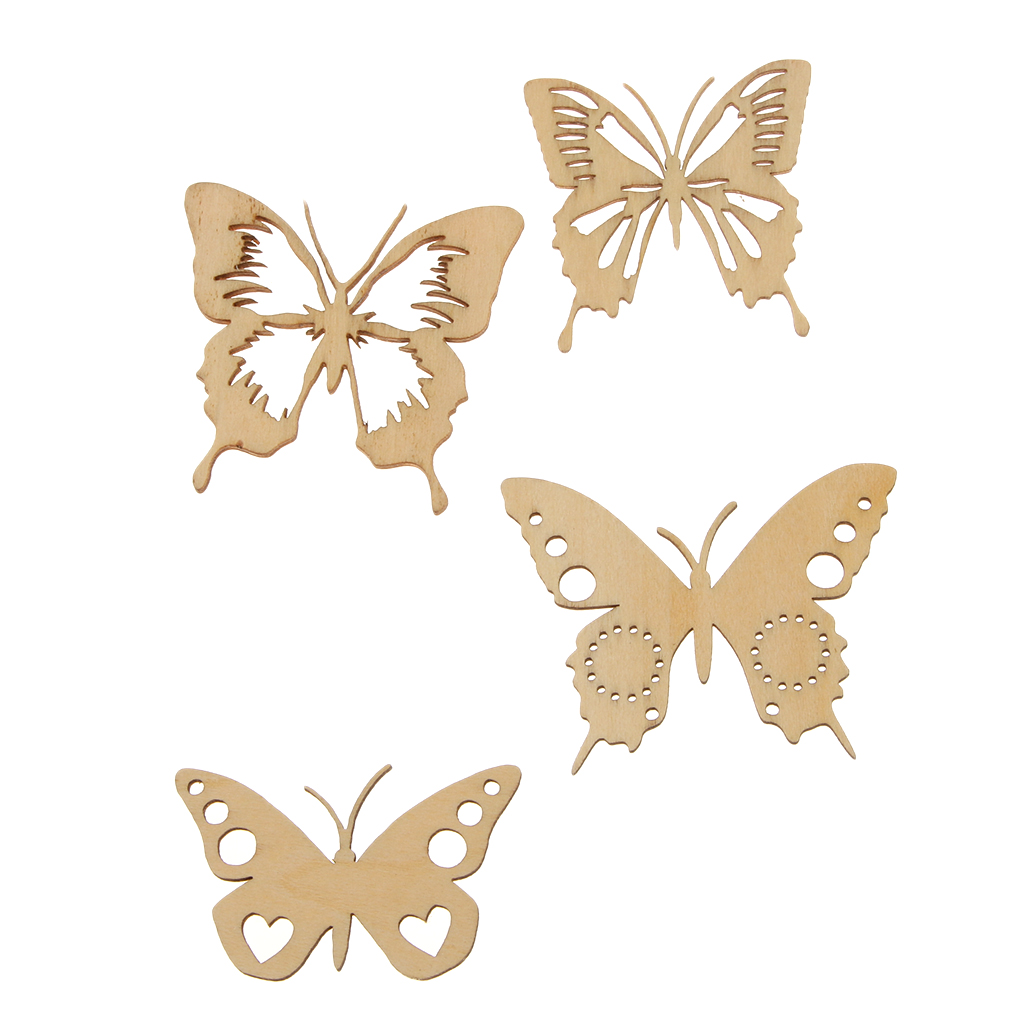 Unfinished wood craft pieces - New Hot Sale Vintage Butterfly Wings Unfinished Wood Shape Craft Supplies Laser Cut Out Stickers Diy
