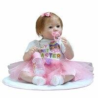 52 см полный силиконовые возрождается Игрушки для маленьких детей Розовое платье жизнь, как настоящая принцесса возрождается младенцев дет